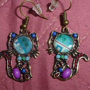 Cute Purple & Blue Cat Dangle Earrings, New
